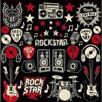 Reminisce - Rockstar Collection - 12 x 12 Cardstock Sticker Sheet