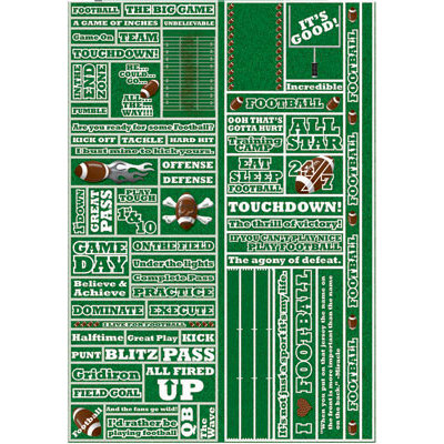 Reminisce - Real Sports Collection - Die Cut Cardstock Stickers - Football Quote