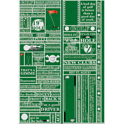 Reminisce - Real Sports Collection - Die Cut Cardstock Stickers - Golf Quote