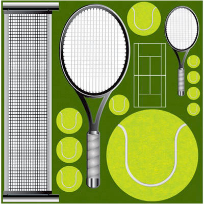 Reminisce - Real Sports Collection - 12 x 12 Die Cut Cardstock Stickers - Tennis