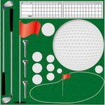 Reminisce - Real Sports Collection - 12 x 12 Die Cut Cardstock Stickers - Golf