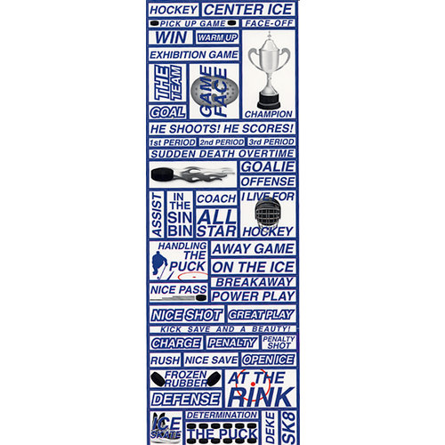 Reminisce - Real Sports Collection - Die Cut Cardstock Stickers - Hockey Quote
