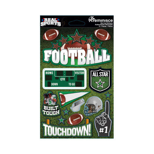 Reminisce - Real Sports Collection - 3 Dimensional Die Cut Stickers - Football