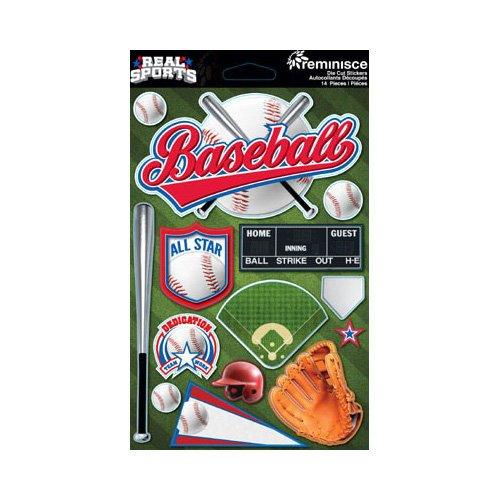 Reminisce - Real Sports Collection - 3 Dimensional Die Cut Stickers - Baseball