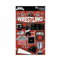 Reminisce - Real Sports Collection - 3 Dimensional Die Cut Stickers - Wrestling