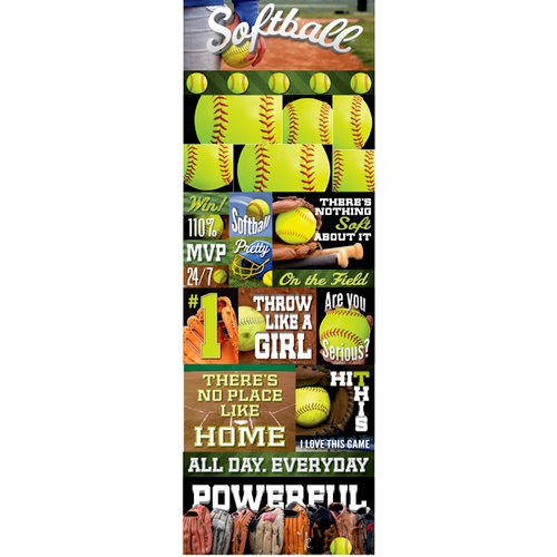 Reminisce - Real Sports Collection - Cardstock Stickers - Graphic - Softball