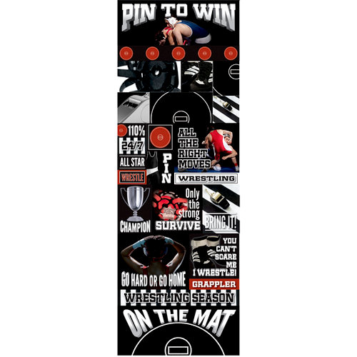 Reminisce - Real Sports Collection - Cardstock Stickers - Graphic - Wrestling