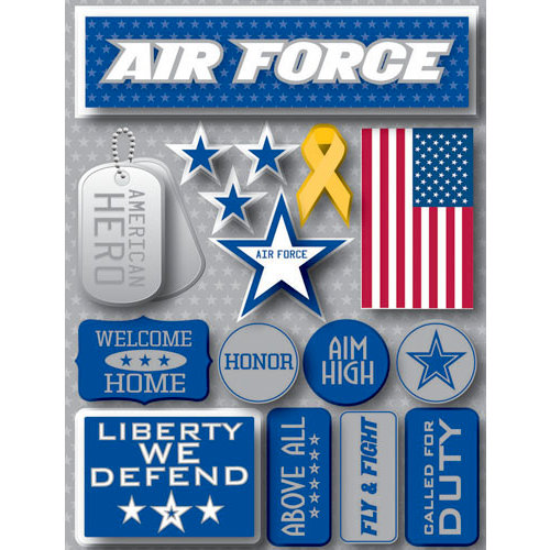 Reminisce - Signature Series Collection - 3 Dimensional Die Cut Stickers - Air Force