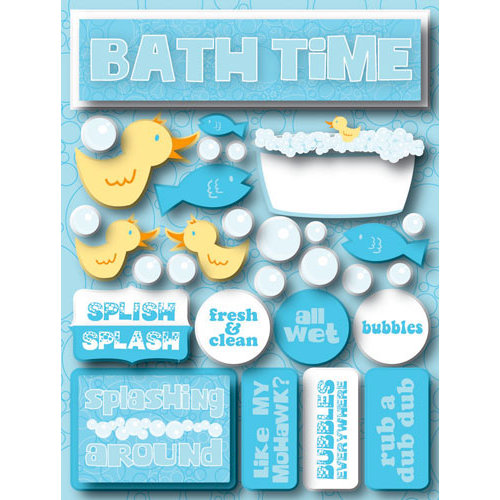 Reminisce Signature Series Collection 3 Dimensional Die Cut Stickers Bath Time