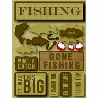 Reminisce - Signature Series Collection - 3 Dimensional Die Cut Stickers - Fishing
