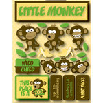 Reminisce - Signature Series Collection - 3 Dimensional Die Cut Stickers - Monkey