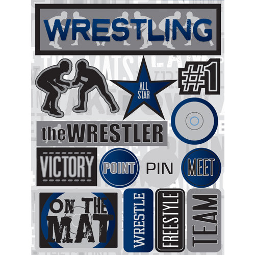 Reminisce Signature Series Collection 3 Dimensional Die Cut Stickers Wrestling