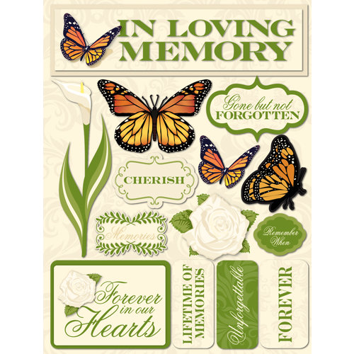 Reminisce Signature Series Collection 3 Dimensional Die Cut Stickers Memories