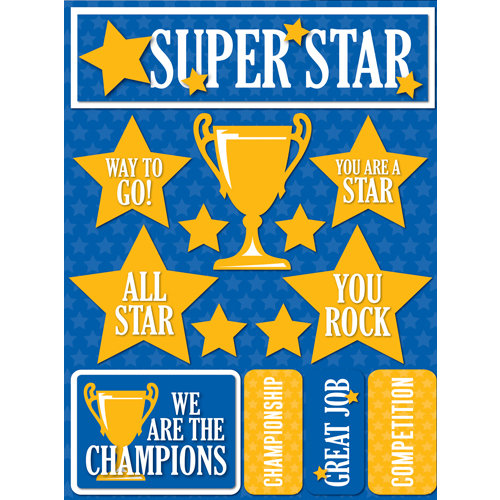 Reminisce - Signature Series Collection - 3 Dimensional Die Cut Stickers - Superstar