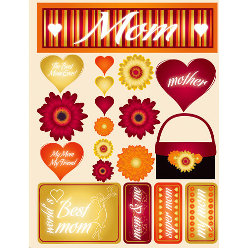 Reminisce - Signature Series Collection - 3 Dimensional Die Cut Stickers - Mom