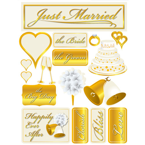 Reminisce - Signature Series Collection - 3 Dimensional Die Cut Stickers - Just Married