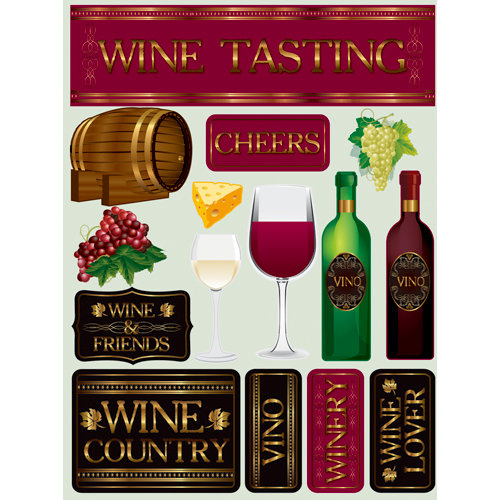 Reminisce - Signature Series Collection - 3 Dimensional Die Cut Stickers - Wine Tasting