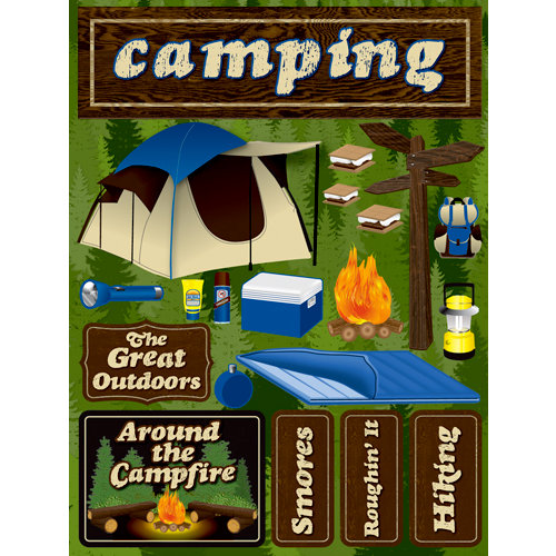 Reminisce - Signature Series Collection - 3 Dimensional Die Cut Stickers - Camping