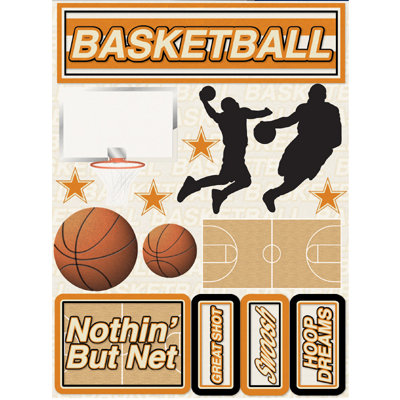Reminisce - Signature Series Collection - 3 Dimensional Die Cut Stickers - Basketball