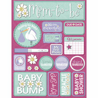 Reminisce - Signature Series Collection - 3 Dimensional Die Cut Stickers - Pregnancy