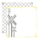 Reminisce - Road Signs Collection - 12 x 12 Double Sided Paper - Railroad Crossing