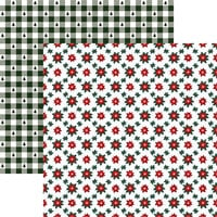 Reminisce - Rustic Christmas Collection - 12 x 12 Double Sided Paper - Plaid Poinsettia