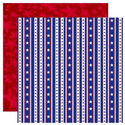 Reminisce - Stars and Stripes Collection - 12 x 12 Double Sided Paper - Liberty Stripe
