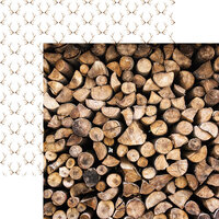 Ella and Viv Paper Company - Scandinavian Woodland Collection - 12 x 12 Double Sided Paper - Stacked Logs