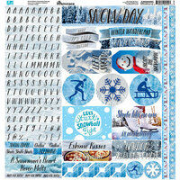 Reminisce - Snow Day Collection - 12 x 12 Cardstock Stickers - Variety