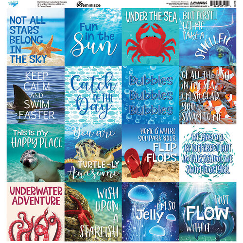 Reminisce - Sea Life Collection - 12 x 12 Cardstock Sticker Sheet - Squares