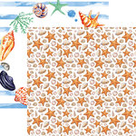 Reminisce - Seaside Collection - 12 x 12 Double Sided Paper - Watercolor Seashells