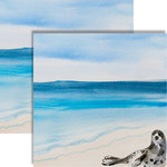 Reminisce - Seaside Collection - 12 x 12 Double Sided Paper - Watercolor Seal