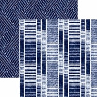 Reminisce - Shades of Indigo Collection - 12 x 12 Double Sided Paper - Indigo Stripe