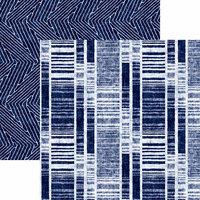 Reminisce - Shades of Indigo Collection - 12 x 12 Double Sided Paper - Indigo Stripe