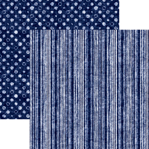 Reminisce - Shades of Indigo Collection - 12 x 12 Double Sided Paper - Indigo Stripe 2