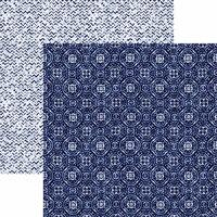 Reminisce - Shades of Indigo Collection - 12 x 12 Double Sided Paper - Indigo Medallion