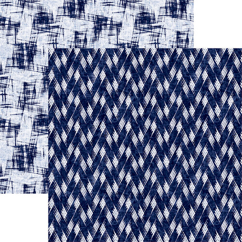 Reminisce - Shades of Indigo Collection - 12 x 12 Double Sided Paper - Indigo Zig Zag