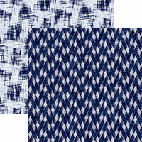 Reminisce - Shades of Indigo Collection - 12 x 12 Double Sided Paper - Indigo Zig Zag