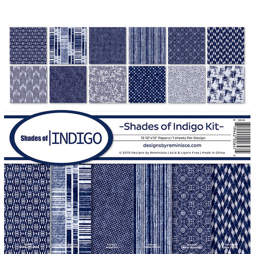 Reminisce - Shades of Indigo Collection - 12 x 12 Paper Pack