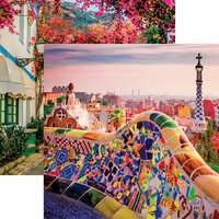 Reminisce - Spain Collection - 12 x 12 Double Sided Paper - Park Guell