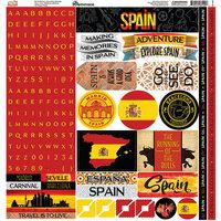 Reminisce - Spain Collection - 12 x 12 Cardstock Sticker Sheet - Alpha