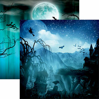 Reminisce - Spooky Night Collection - Halloween - 12 x 12 Double Sided Paper - Vampire Bats