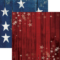 Reminisce - Star Spangled Spectacular Collection - 12 x 12 Double Sided Paper - Barnwood Stars