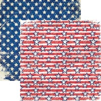 Reminisce - Star Spangled Spectacular Collection - 12 x 12 Double Sided Paper - Stars and Bars