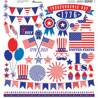 Reminisce - Star Spangled Spectacular Collection - 12 x 12 Elements Sticker