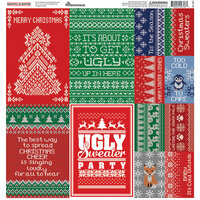 Reminisce - Santas Sweater Collection - 12 x 12 Cardstock Stickers - Poster