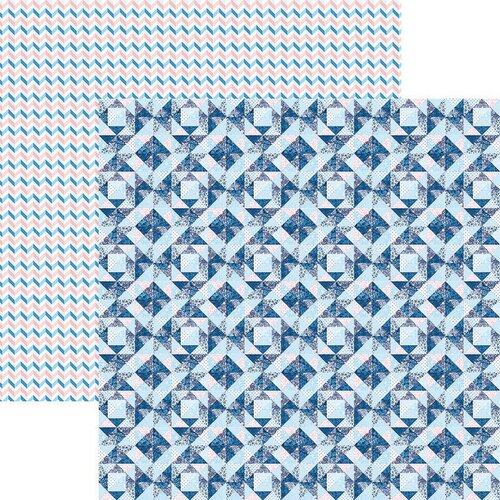 Reminisce - Stitch and Sew Collection - 12 x 12 Double Sided Paper - Blue Quilt