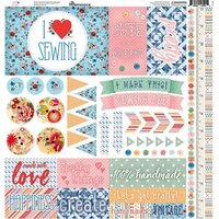 Reminisce - Stitch and Sew Collection - 12 x 12 Cardstock Sticker Sheet