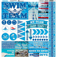Reminisce - Swim Team Collection - 12 x 12 Cardstock Stickers - Elements