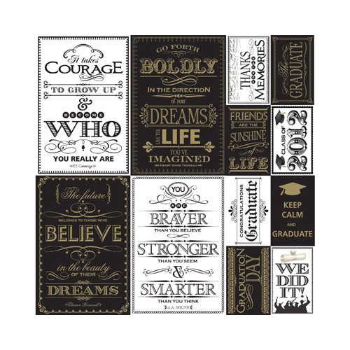 Reminisce - The Graduate Collection - 12 x 12 Cardstock Stickers - Quote